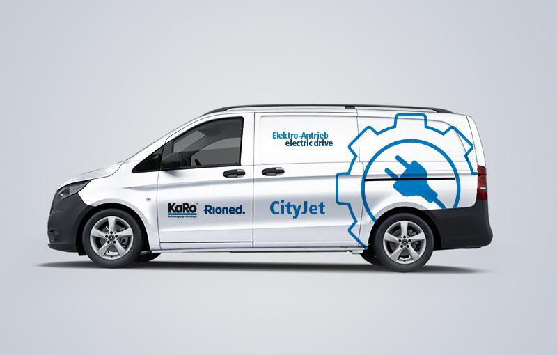 Fahrzeugbeklebung CityJet Elektro-Antrieb