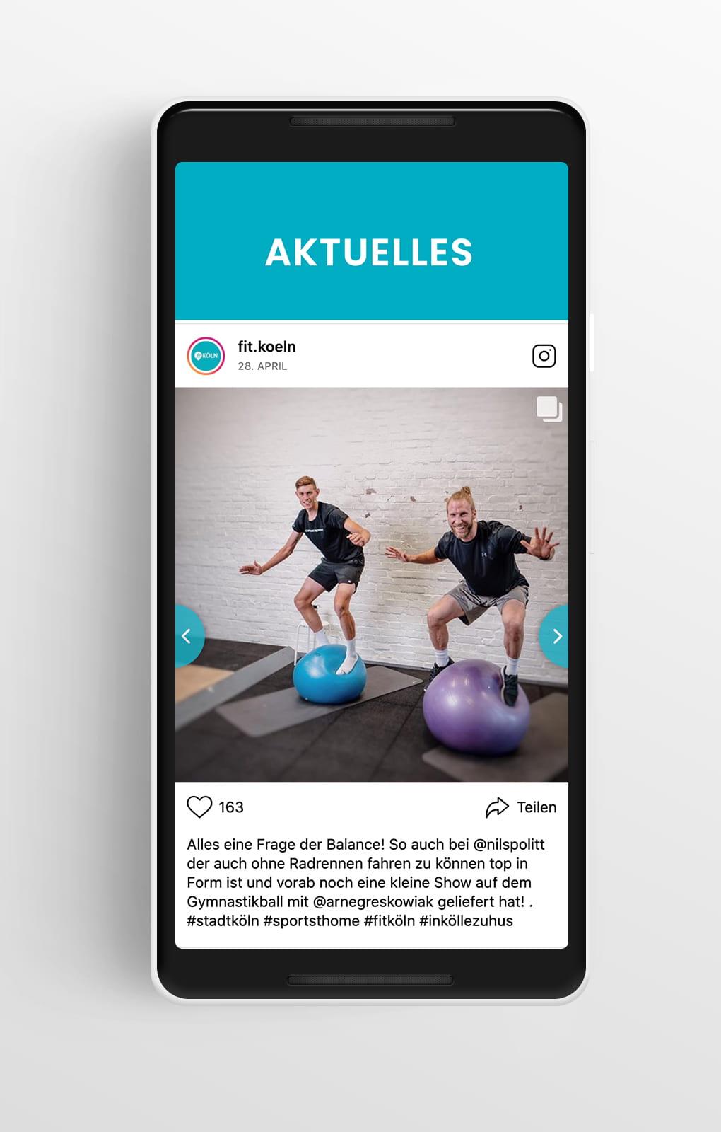 Social-Media-Modul Mobile - Fit-Köln