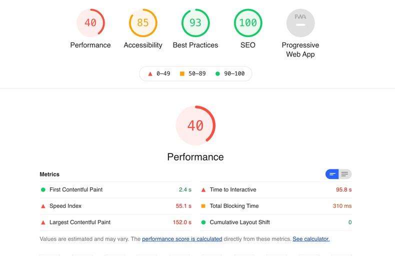 Google Page Speed - vor dem Relaunch