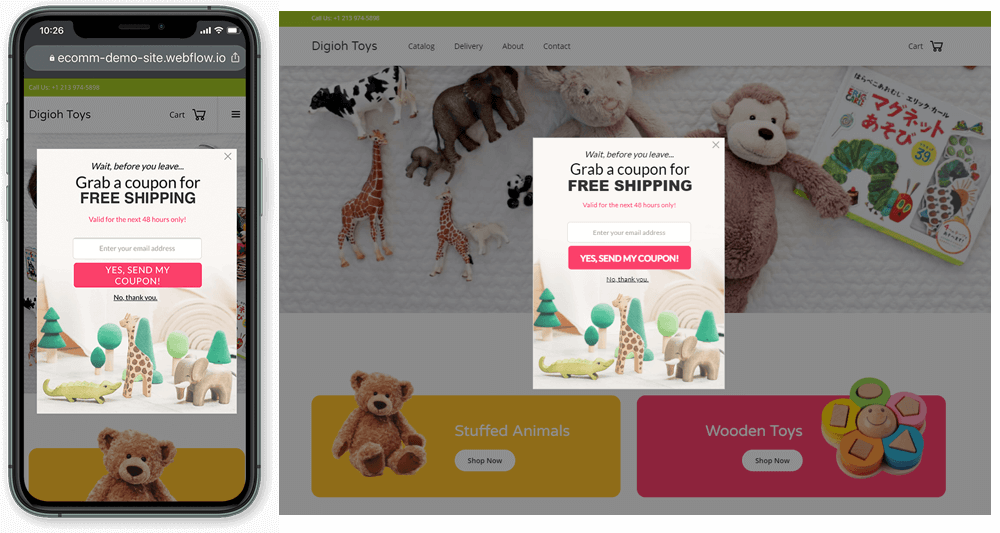 exit-intent pop-up lightbox example displayed on mobile and desktop screens