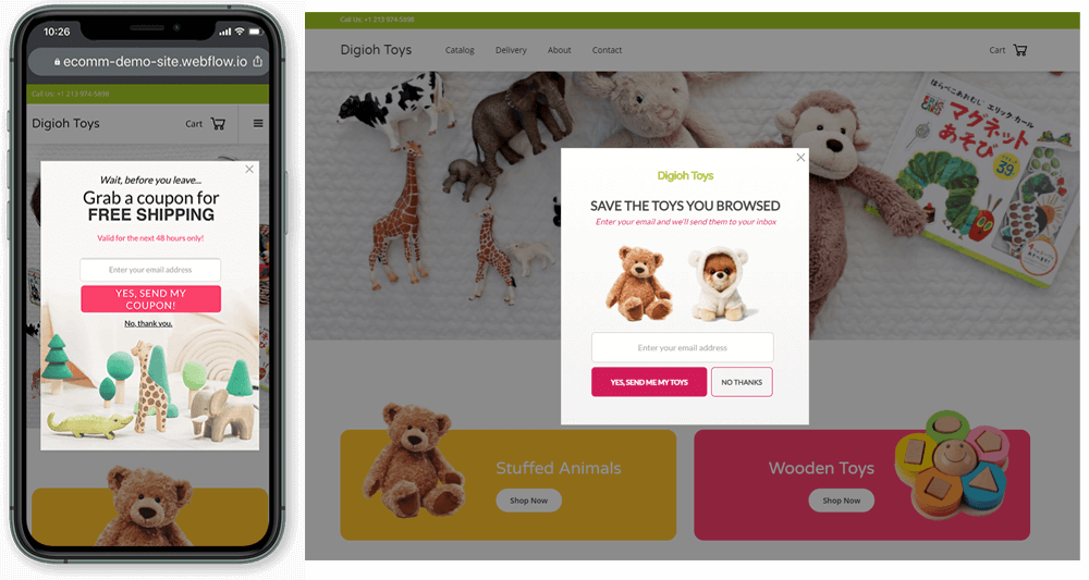 personalized cart abandonment pop-up that shows images of items that were previously viewed
