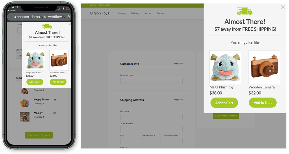 ecommerce upsell widget that recommends similar products that allow shoppers to reach the free shipping threshold