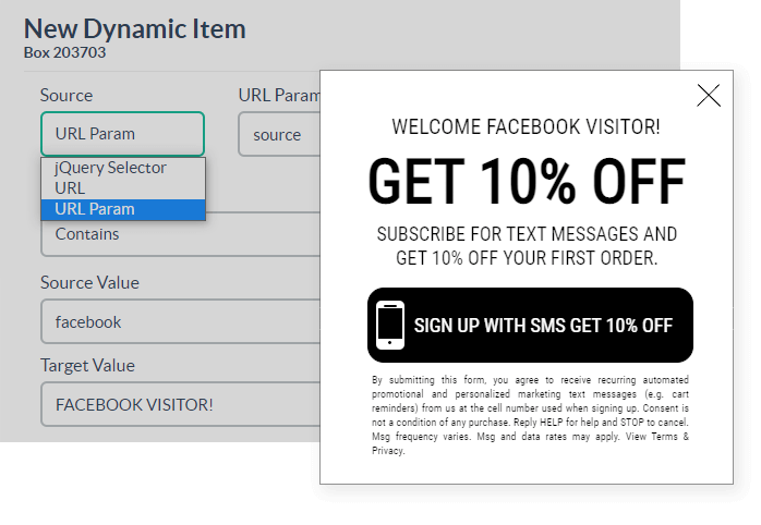 dynamic pop-up personalization example