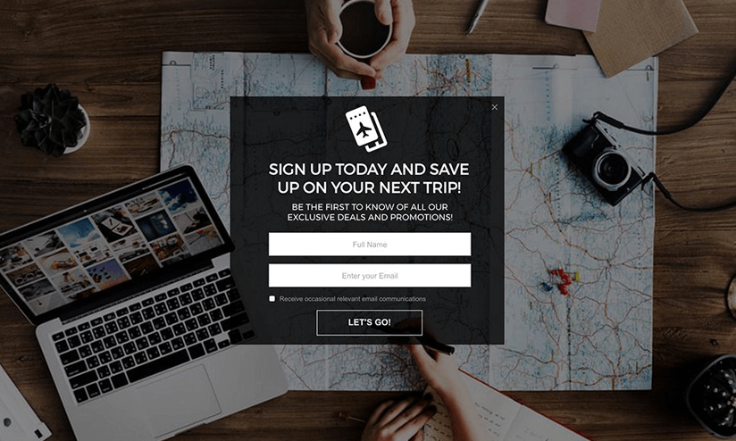full-screen email capture lightbox