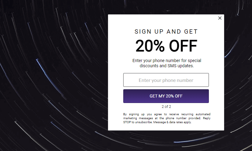 full page two-step opt-in pop-up