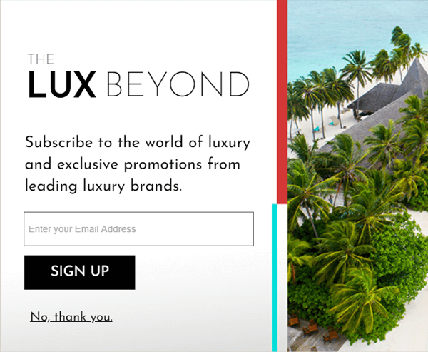 square lux pop-up theme example