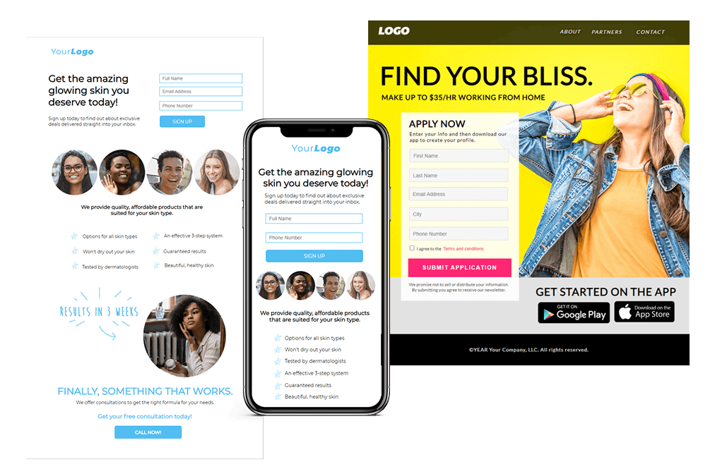 examples of mobile and desktop landing page templates