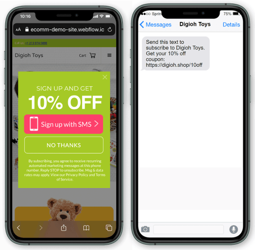 one-tap capture form for sms marketing