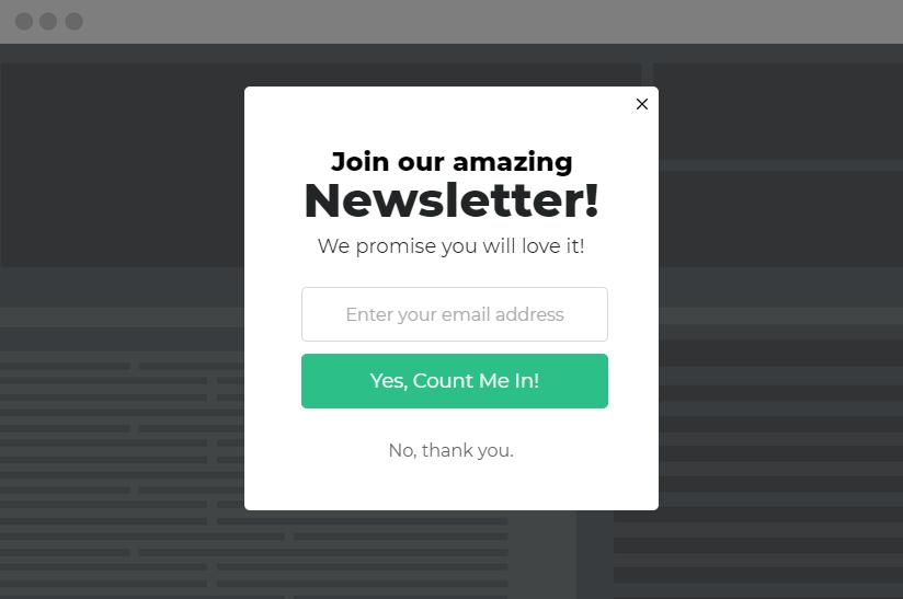 light newsletter popup example