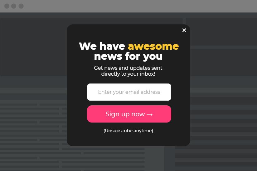 dark newsletter popup example