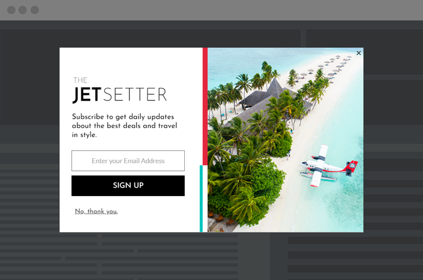 newsletter signup lightbox example