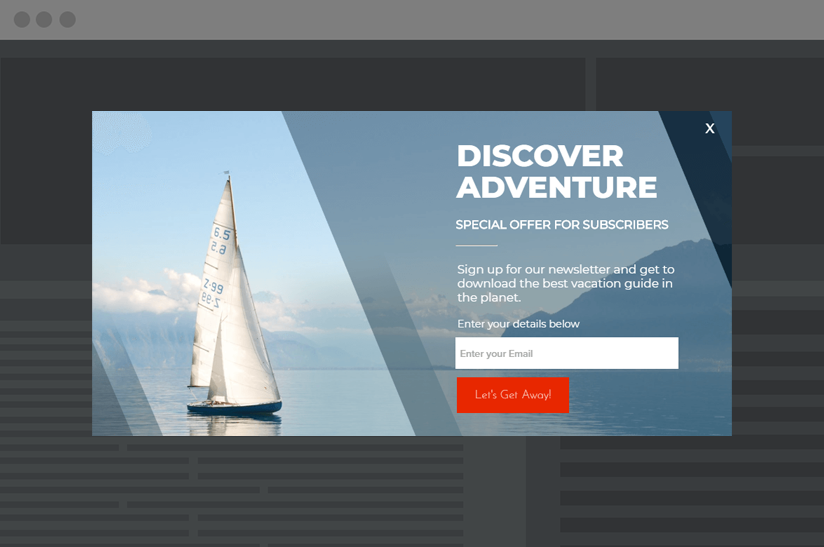 sailing email capture lightbox example