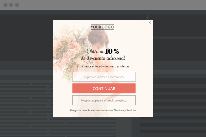 elegant signup pop-up with discount