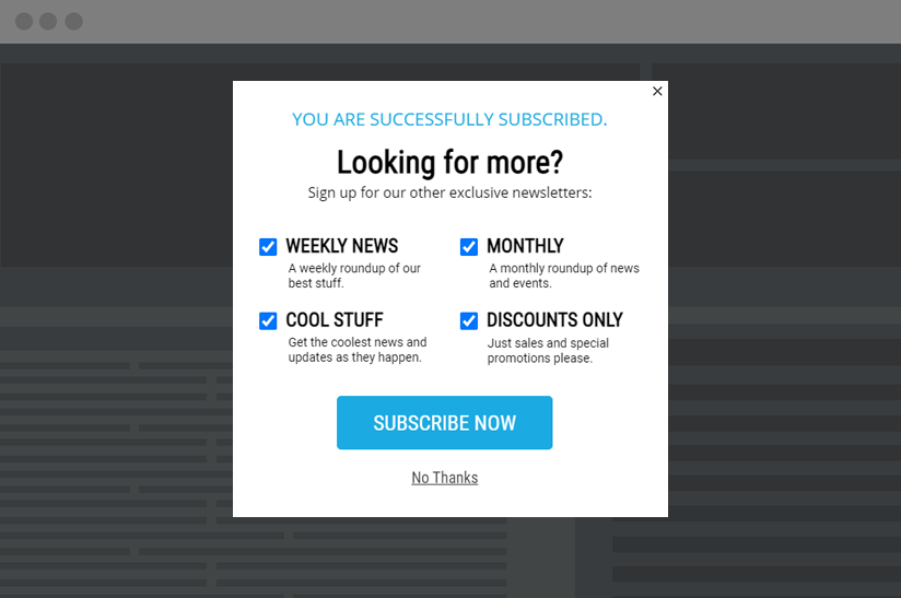 newsletter signup popup with checkboxes to opt into additional emails