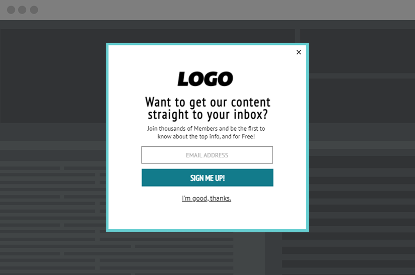 email popup template for media and publishing newsletters