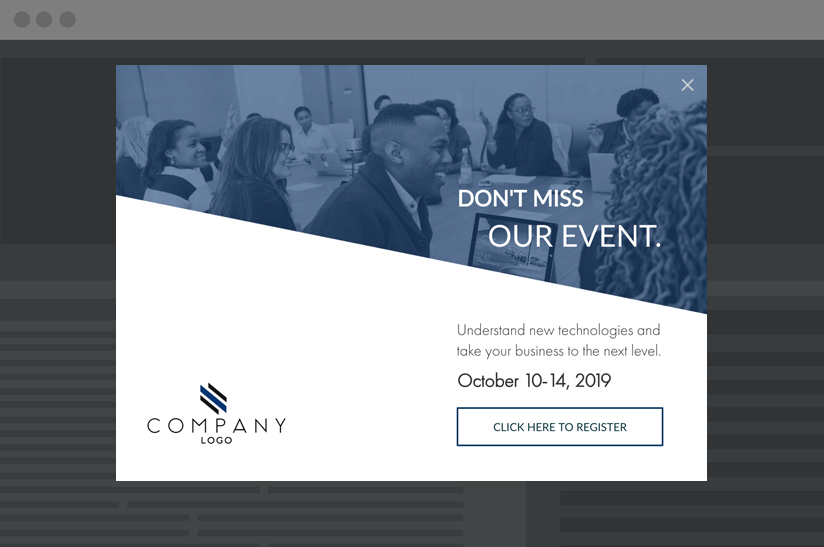 pop-up CTA to capture signups for events and webinars