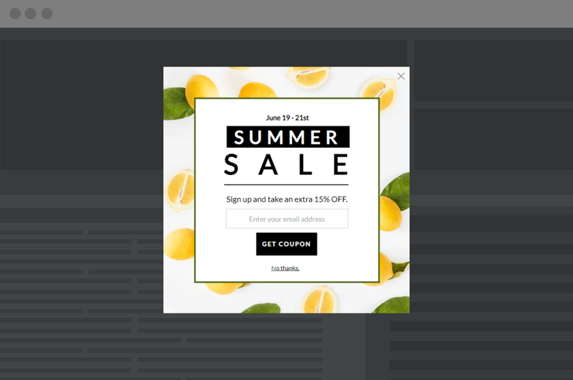 pop-up promoting an ecommerce sale