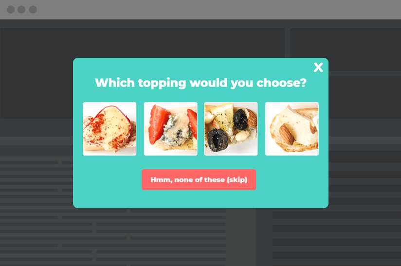 example of a product recommendation quiz popup template