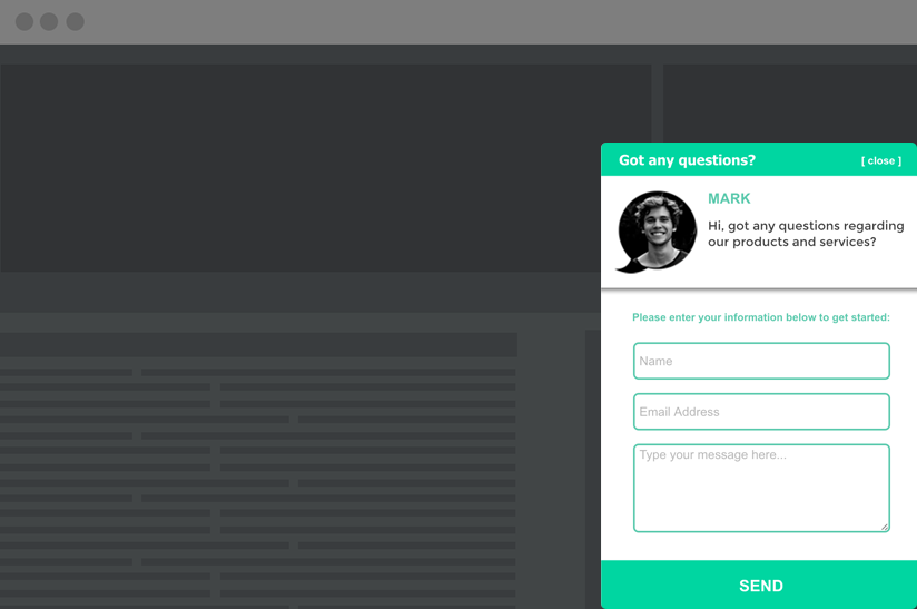 contact us pop-up form example