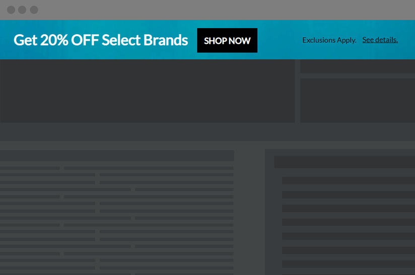 example of a website banner for showing promotions on the top of your site
