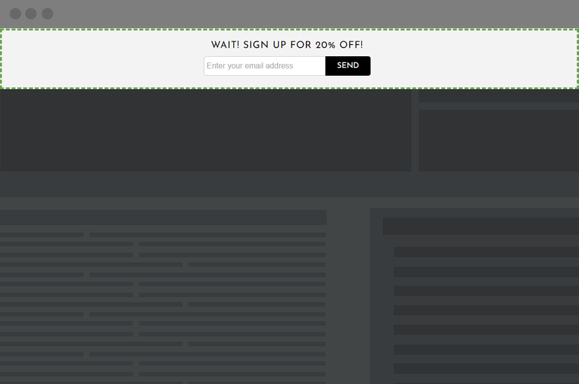 website banner with an email capture form