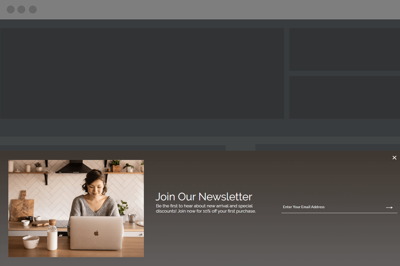 website footer with an email newsletter signup form