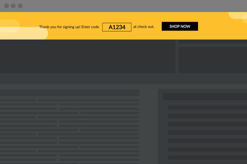 dynamic banner that shows website visitors a unique coupon code