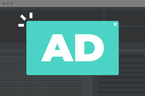 image of a browser window with an ad pop-up
