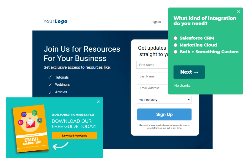 lead capture forms, pop-ups, and landing pages