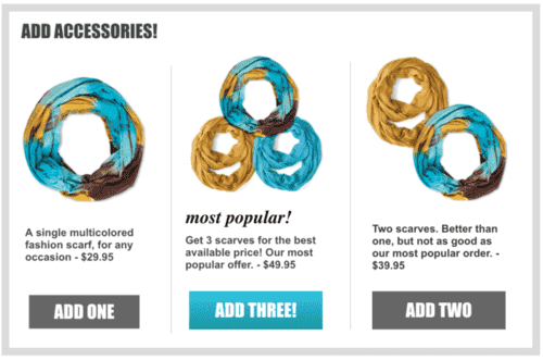ecommerce upsell widget with personalized product recommendations