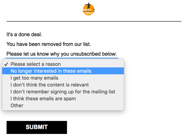 post unsubscribe survey example
