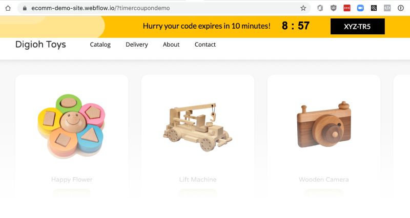 countdown timer banner on a toy site