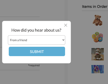 post purchase survey on checkout page