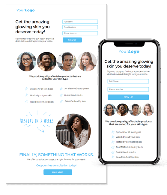 example of a Digioh landing page template on desktop and mobile