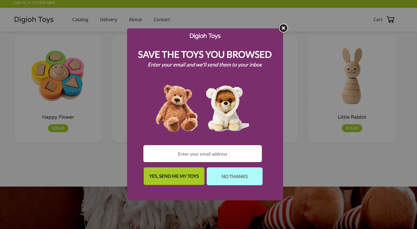 exit intent pop-up that allows abandoned cart visitors to save cart to email