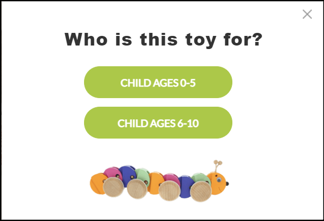 children's toy product quiz for ecommerce sites