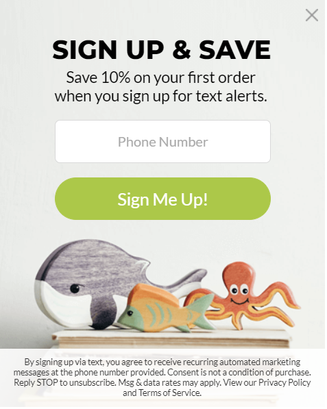 sms list growth pop-up following mobile design best practices