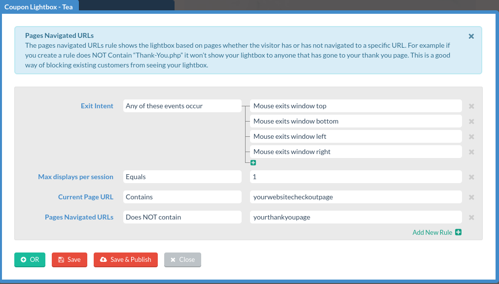 digioh conditions editor configured to display pop-ups on mouse exit