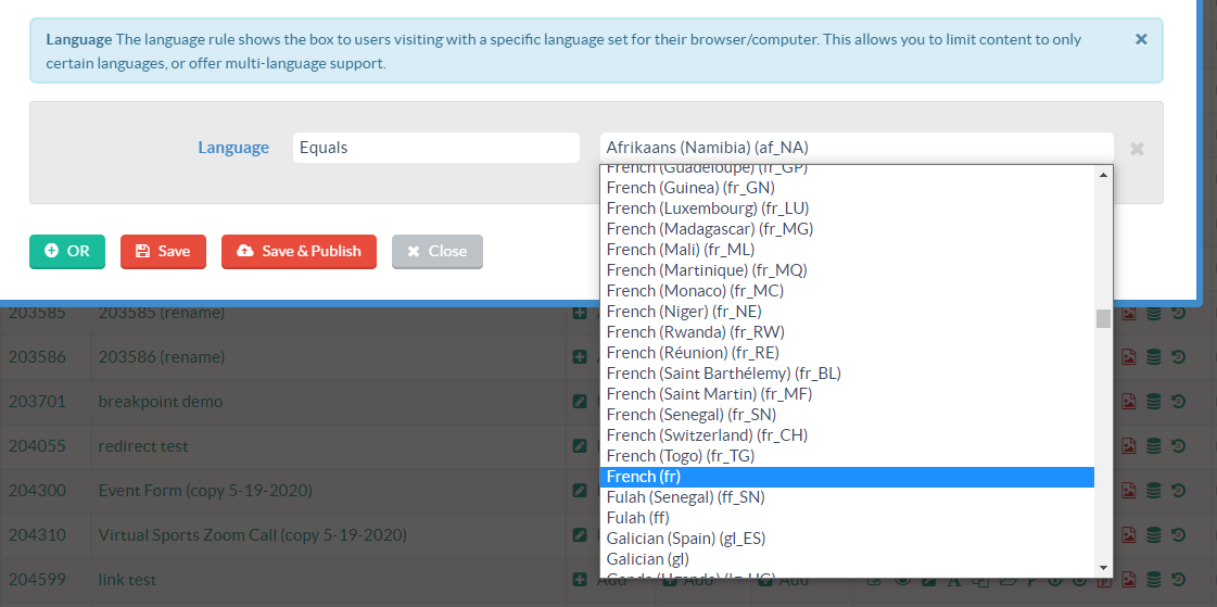 digioh conditions configured to show multilingual popups