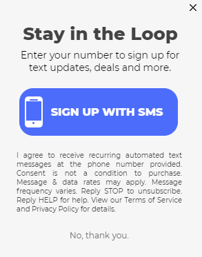 sms optin pop-up with a one-tap signup button