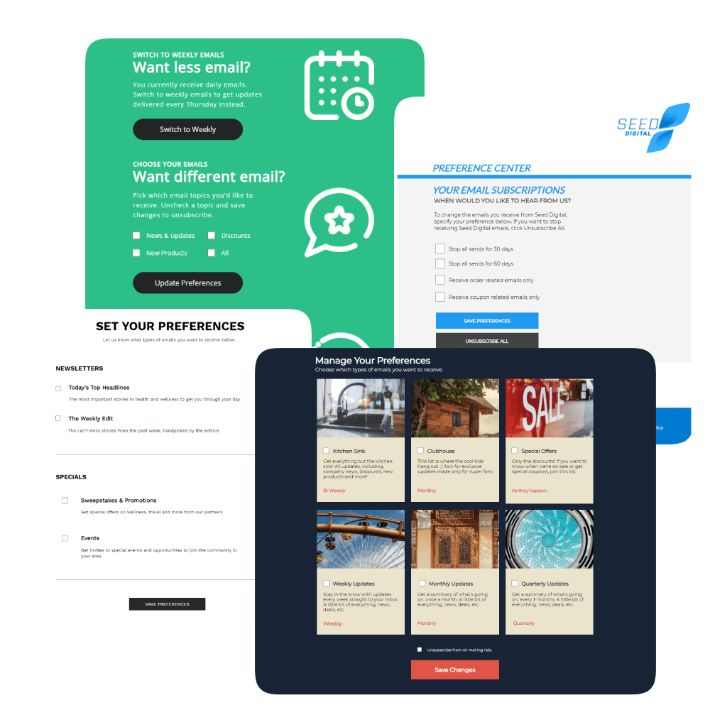 examples of Digioh email preference center templates