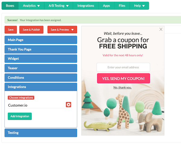 screenshot of digioh customer.io integration