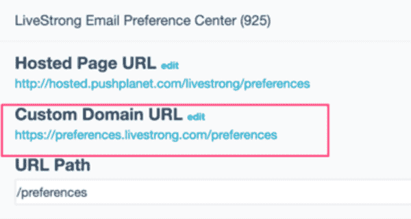 preference center with a custom domain