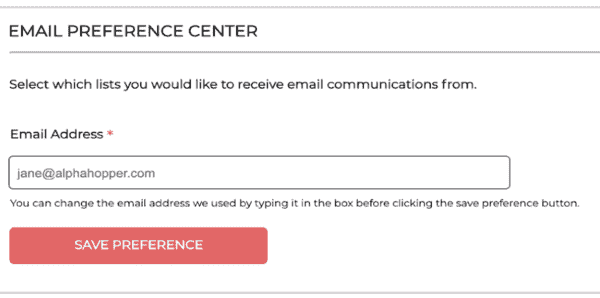 subscription center page with a field to edit email address
