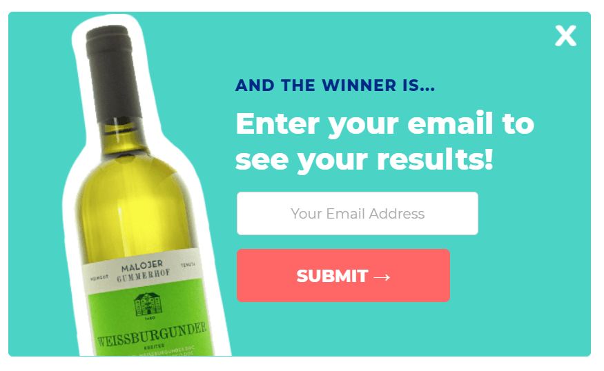 email popup at the end of an ecommerce quiz