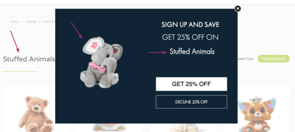 dynamic content on ecommerce pop-up