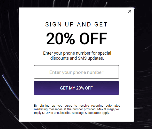 sms opt-in popup with discount