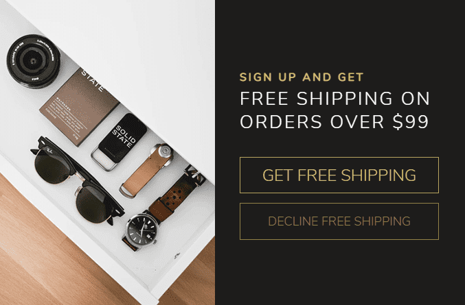 free shipping pop-up lightbox example