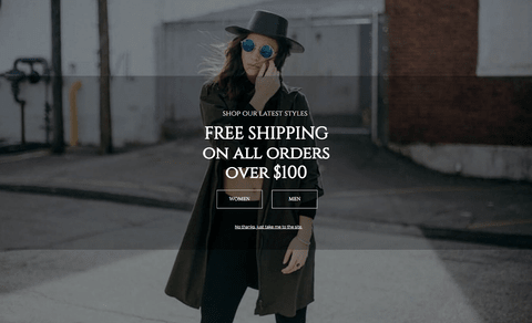 full-screen free shipping pop-up lightbox example