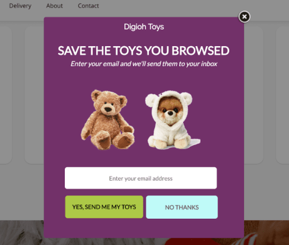 save cart to email popup